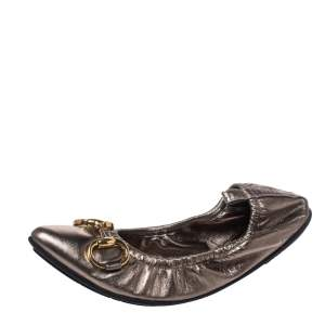 Gucci Metallic Leather Horsebit Scrunch Pointed Toe Ballet Flats Size 37.5