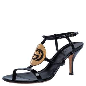 Gucci Black Patent Leather Interlocking GG Logo Strappy Sandals Size 36.5