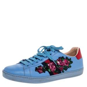 Gucci Blue Leather Ace Web Floral Embellished Low Top Sneakers Size 40.5