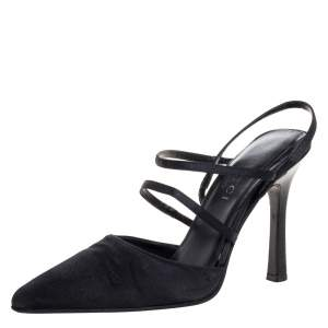 Gucci Black Satin Strappy Pointed Toe Sandals Size 35.5