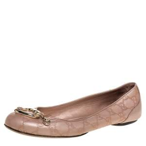 Gucci Beige Guccissima Leather Bamboo Heart Ballet Flats Size 40.5