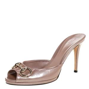 Gucci Beige Guccissima Patent Leather Peep Toe Horsebit Slides Sandals Size 38.5