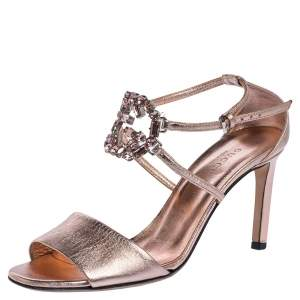 Gucci Metallic Leather Crystal Embellished GG Logo Ankle Strap Sandals Size 36