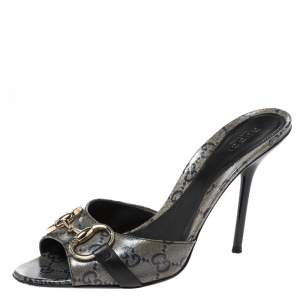 Gucci Navy Blue GG Crystal Canvas Horsebit Open Toe Sandals Size 37