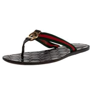 Gucci Black Web Leather Interlocking G Thong Flats Size 38.5