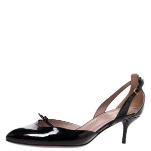 Gucci Black Patent Leather D'Orsay Slingback Pumps Size 39