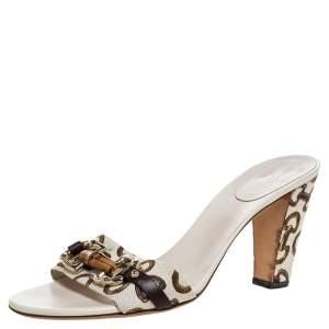 Gucci White/Brown Horsebit Printed Canvas Bamboo Horsebit Embellished Slide Sandals Size 39