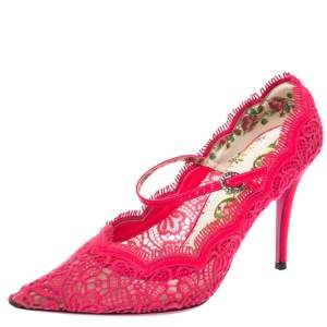 Gucci Pink Lace And Leather Virginia Mary Jane Pumps Size 38