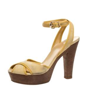 Gucci Yellow Suede and Leather Trim Criss Cross Platform Ankle Strap Sandals 39.5