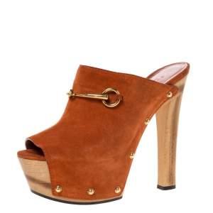 Gucci Brown Suede Horsebit Open Toe Platform Mules Size 39.5