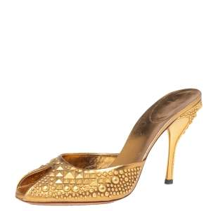 Gucci Metallic Gold Studded Leather Peep Toe Mule Sandals Size 41