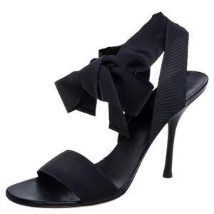 Gucci Black Grosgrain Fabric Open Toe Ankle Wrap Sandals Size 41