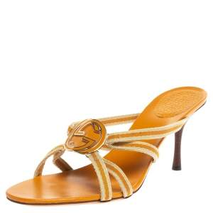 Gucci Yellow/Cream Web Canvas Interlocking GG Strappy Sandals Size 40.5