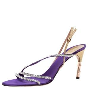 Gucci Purple Satin and Lizard Crystal Embellished Bamboo Heel Slingback Sandals Size 41