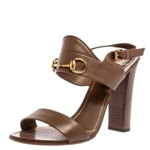Gucci Brown Leather Horsebit Slingback Block Heel Sandals Size 40