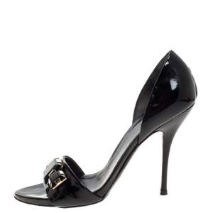 Gucci Black Patent Leather Jewel Embellished D'Orsay Peep Toe Sandals Size 39.5
