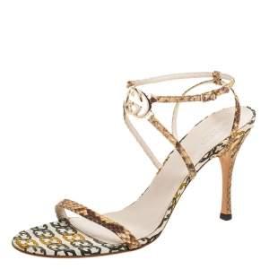 Gucci Brown/Cream Python Leather Interlocking GG Ankle Strap Sandals Size 41