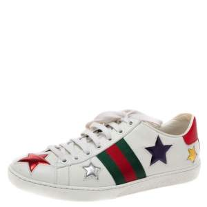 Gucci White Leather Ace Metallic Stars Low Top Sneakers Size 35.5