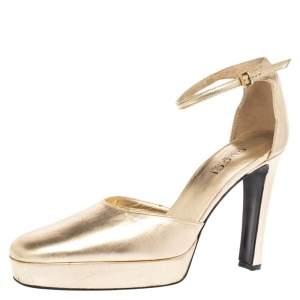 Gucci Metallic Gold Leather Platform Ankle Strap Pumps Size 41
