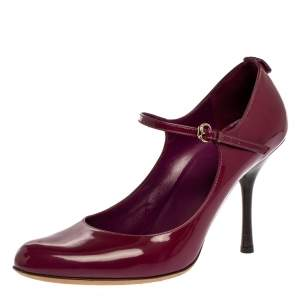 Gucci Purple Patent Leather Mary Jane Pumps Size 40