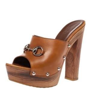 Gucci Brown Leather Horsebit Platform Open Toe Clog Sandals Size 37