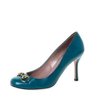 Gucci Teal Blue Leather Jolene Horsebit Pumps Size 37