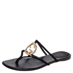 Gucci Black Suede GG Interlocking Strappy Flat Sandals Size 38
