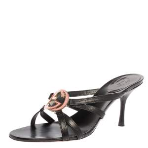 Gucci Black Leather Interlocking G Strappy Sandals Size 38