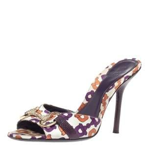 Gucci White Satin Multicolor Horsebit Printed Crystal Horsebit Embellished Slide Sandals Size 37