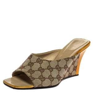 Gucci Beige GG Canvas And Yellow Patent Open Toe Wedge Mule Sandals Size 38.5