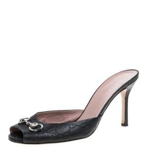 Gucci Black Leather Guccissima Peep Toe Horsebit Slides Size 40