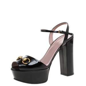 Gucci Black Patent Leather Claudie Horsebit Peep Toe Platform Sandals Size 38.5