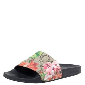 Gucci Multicolor GG Floral Canvas Flat Slides Size 38