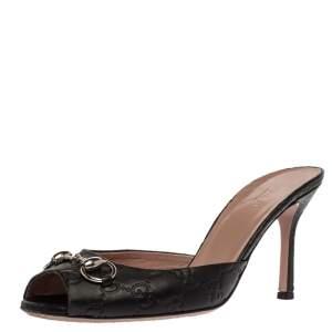Gucci Black Guccissima Leather Horsebit Slide Sandals Size 38.5