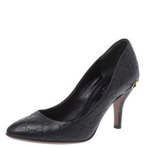 Gucci Black Leather Guccissima Pumps Size 35