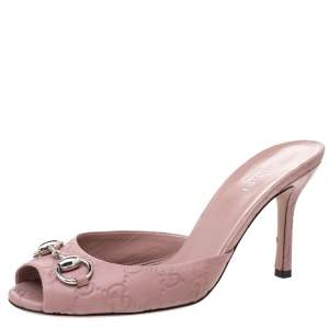 Gucci Pale Pink Leather Guccissima Peep Toe Horsebit Slides Sandals Size 37