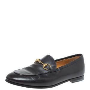 Gucci Black Leather Jordaan Horsebit Loafers Size 35.5