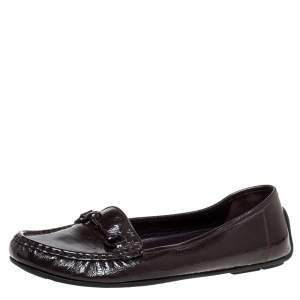 Gucci Brown Patent Leather Horsebit Slip On Loafers Size 40