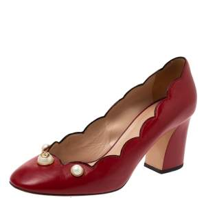 Gucci Red Leather Willow Faux Pearl Embellished Pumps Size 40