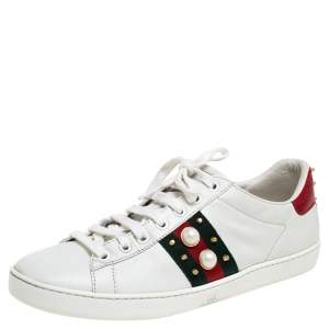 Gucci White Leather Ace Faux Pearl Embellished Studded Low Top Sneakers Size 38