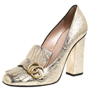 حذاء كعب عالى غوتشى مارمونت جى جى جلد ذهبى مقاس 39