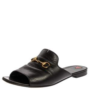 Gucci Black Leather Malaga Kid Flat Mules Size 39.5