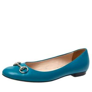 Gucci Teal Leather Horsebit Ballet Flats Size 38