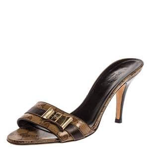 Gucci Beige/Brown Patent Leather Bow Detail Guccissima Sandals Size 36