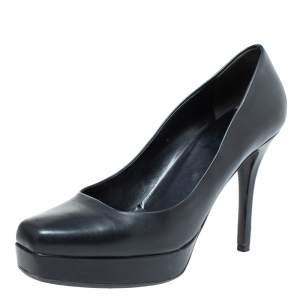 Gucci Black Leather Tile Square Toe Platform Pumps Size 39