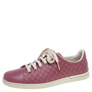 Gucci Pink Micro Guccissima Leather Low Top Sneakers Size 37.5