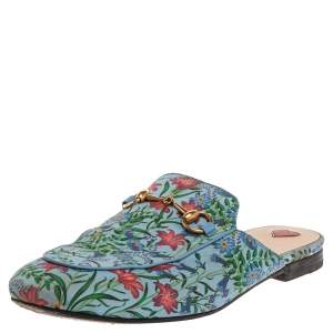 Gucci Blue Floral Print Satin Princetown Mules Size 38