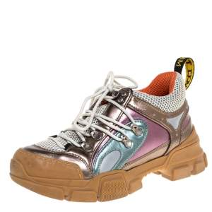 Gucci Multicolor Leather and Mesh Flashtrek Low-Top Sneakers Size 36