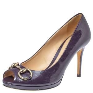 Gucci Purple Guccissima Patent Leather Horsebit Peep Toe Pumps Size 37