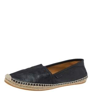 Gucci Black GG Leather Slip On Espadrille Flats Size 38